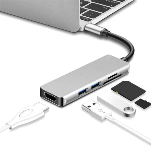 5in1 USB C Hub HDMI Adapter Dongle For MacBook Pro 4K Type C USB 3.0 Card Reader