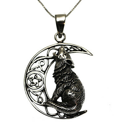 Sterling Silver 925 Howling Wolf Moon Pendant Necklace in Gift Box Lisa Parker