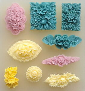 Floral-motif-flower-set-lot-silicone-mould-polymer-clay-fimo-resin-mold