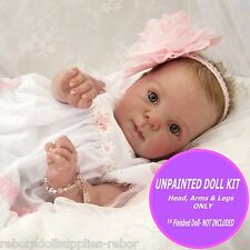 Reborn baby doll unpainted kit, Cutie -  Full Arms and 3/4 legs to make a doll