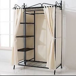metal wardrobe hanging rail shelves clothes storage flat. Black Bedroom Furniture Sets. Home Design Ideas