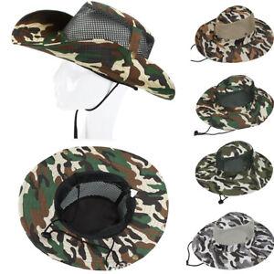 Mens-Tarnung-Bucket-Hat-Boonie-Jagd-Angeln-Outdoor-Breiter-Krempe-Camo-Cap-V