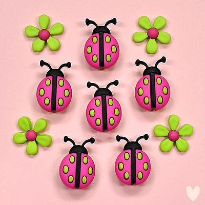 Flower Garden Ladybird Summer Dress It Up Craft Buttons BUGS AND BLOOMS