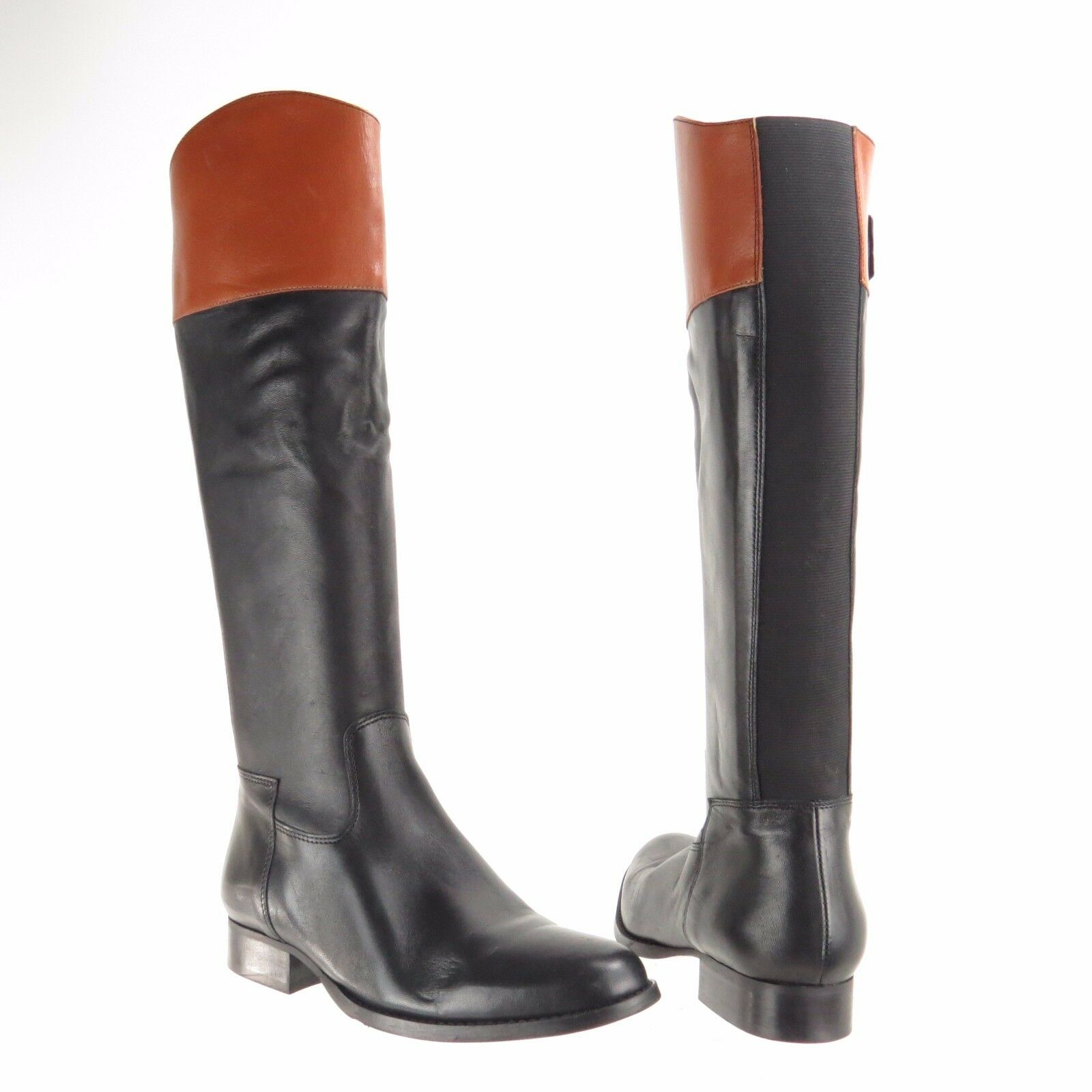 Women's L.K. Bennett Luella Shoes Black Tan Leather Knee High Boots Size 36 NEW!