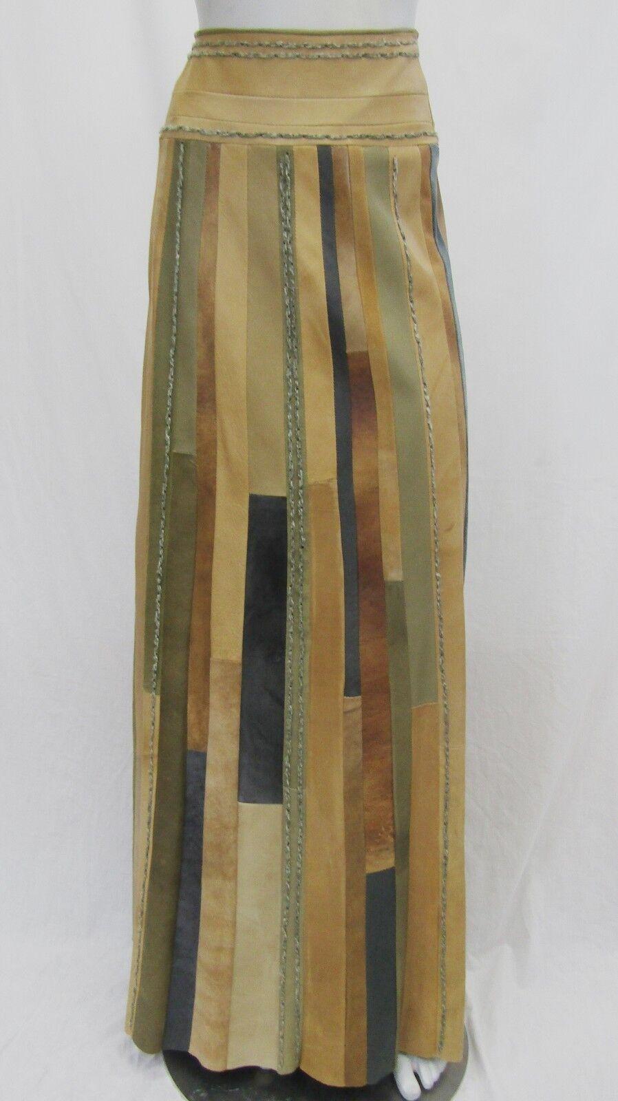NWT women Karan 6 Italian Lamb Skin Leather Strip Stit Maxi Skirt Long Stripped