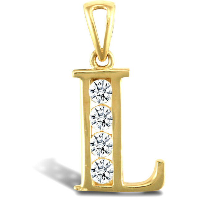 Jewelco London 9ct 2-Colour Gold CZ Pave Identity Initial Charm Pendant Letter B