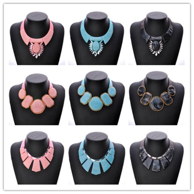 Charm Women Big Natural Gemstone Pendant Statement Necklace Earrings Set Jewelry