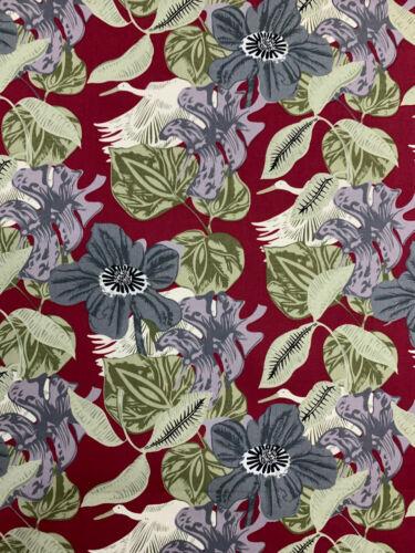 5 Metres Maroon Retro Leaf Leaves Printed 100/% Cotton Poplin Fabric.