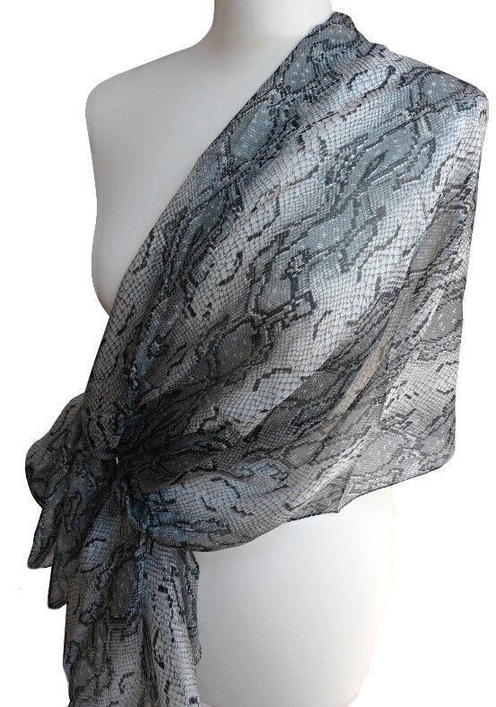 Extravaganter Extravaganter Extravaganter Seidenschal Damen Schal 100% Seide grau schwarz Schlange 095 | Moderater Preis  | Kaufen Sie online  | Schönes Design  fe0143