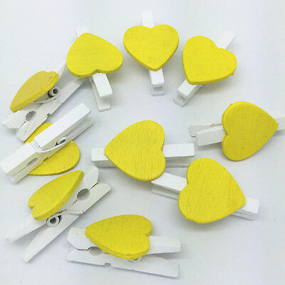 Mini Heart Yellow Pink Wooden Pegs Wedding Craft  Card Placement Shabby Chic