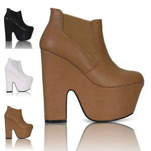 WOMENS-LADIES-CHUNKY-HEEL-PLATFORM-DEMI-WEDGE-CHELSEA-ANKLE-BOOTS-SHOES-SIZE