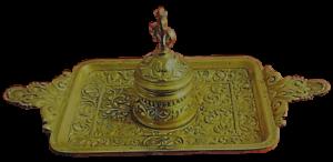 ENCRIER-Ancien-BRONZE-DORE-cisele-XIXeme-godet-verre-d-origine-decor-palmettes