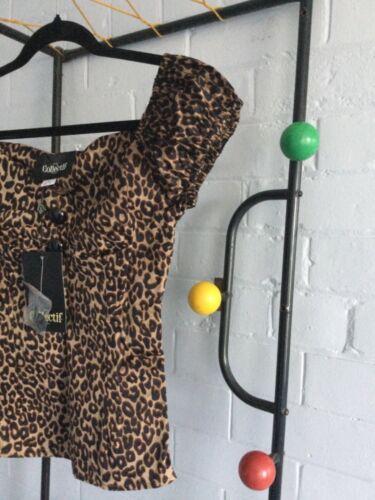 boutons sur Corsage Taille 20 style vintage Foncé Léopard Top Collectif Dolores