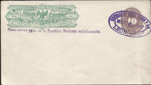 M 1886 MEXICO,EXPRESS WELLS FARGO Y CIA, POSTAL STATIONARY, FIRST NUMERAL ISSUE