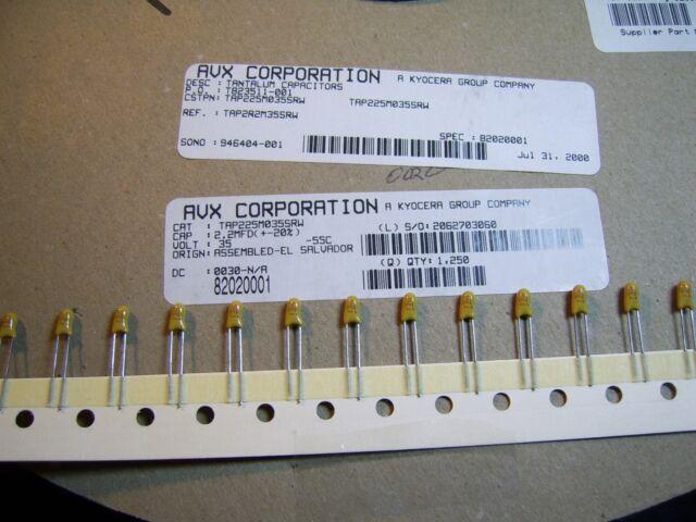 10 each 2.2uF 16 Volt Tantalum Universal Capacitor 2.2 uF