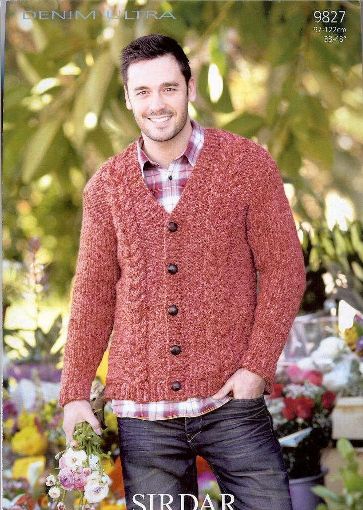 Sirdar Denim Ultra Super Chunky Knitting Pattern 9827 Mens Cardigan ...