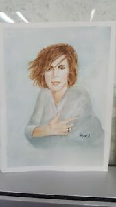 Acuarela original, de Robert A, retrato watercolour Sole gimenez