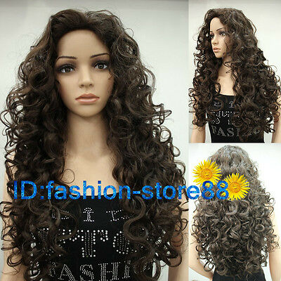 New Fashion Sexy Ladies Long Brown Cosplay Party Curly Wigs & Free wig cap