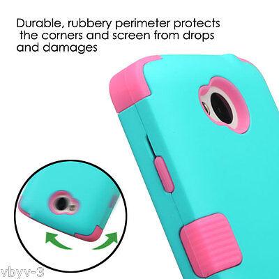 For LG Tribute F60 LS660 Transpyre Hybrid Hard Protective Case Cover TEAL PINK