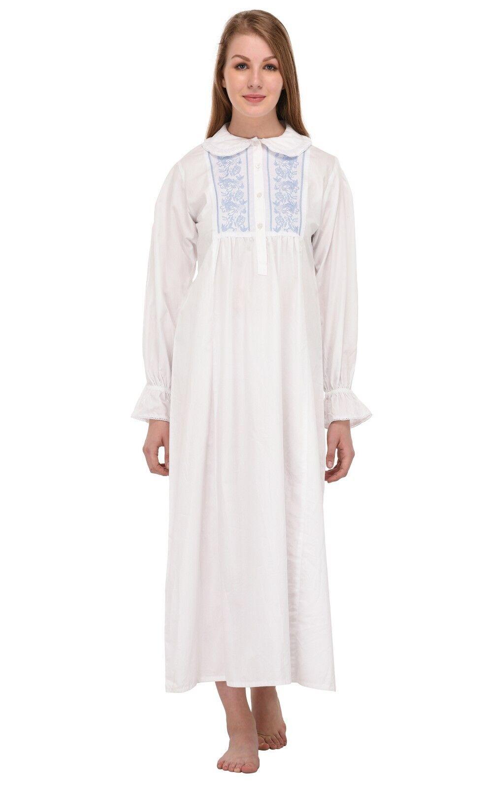 Peter Pan Collar Long Sleeve White Long Nightdress   Cotton Lane