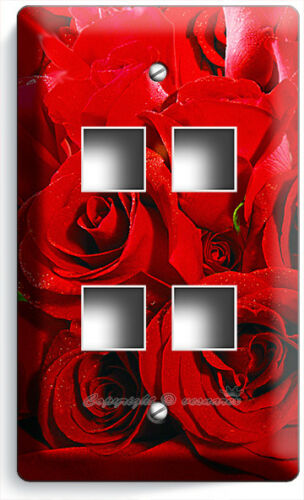 BEAUTIFUL RED ROSES BOUQUET LIGHT SWITCH OUTLETS WALL PLATES BEDROOM HOME DECOR