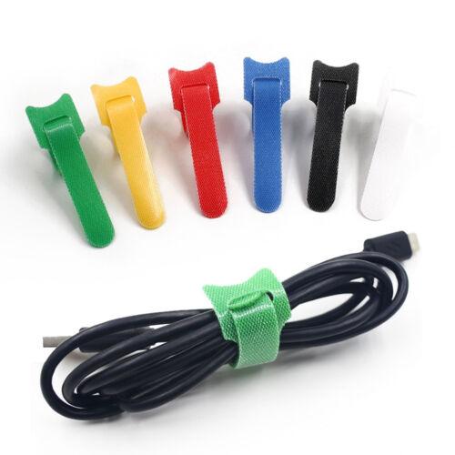 10pcs Reusable Data Lines Hub Hook Loop Cable Tie Fastener Strap Cord Organizer