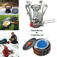 Camping Stove + Pot Pan Set For Outdoor Backpacking Hiking Cooking Equipment