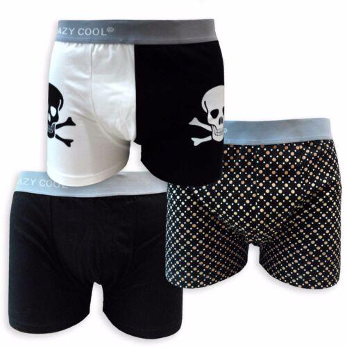 XL M Crazy Cool Men/'s Cotton Color Printed Boxer Briefs Underwear 3-Pcs L