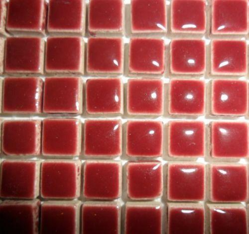81 Mini Glazed Ceramic Mosaic Tiles 10mm - Merlot