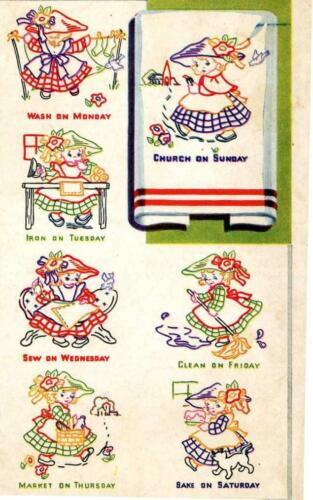 Vintage Embroidery Transfer repo 4048 Little Girls for Days of the Week Towels