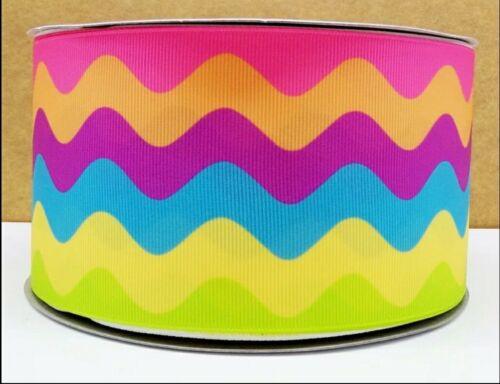 """Rainbow olas de Cinta de Grogrén 1m X 25mm Ancho Cumpleaños Cupcakes arcos del pelo 1/"""""""