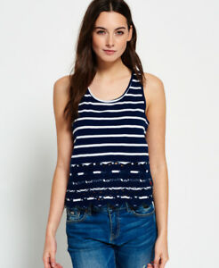 99a0fc2bfe2e Image is loading New-Womens-Superdry-Shore-Broderie-Shell-Top-Navy
