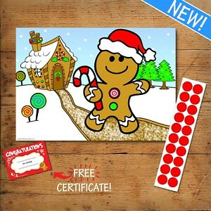 Details About Pin The Button On The Gingerbread Man Like Pin Nose On Reindeer 20 Player