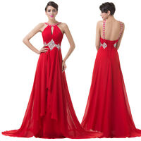 Sexy Red Beaded Chiffon Cocktail Evening Formal Party Prom Gown Bridesmaid Dress