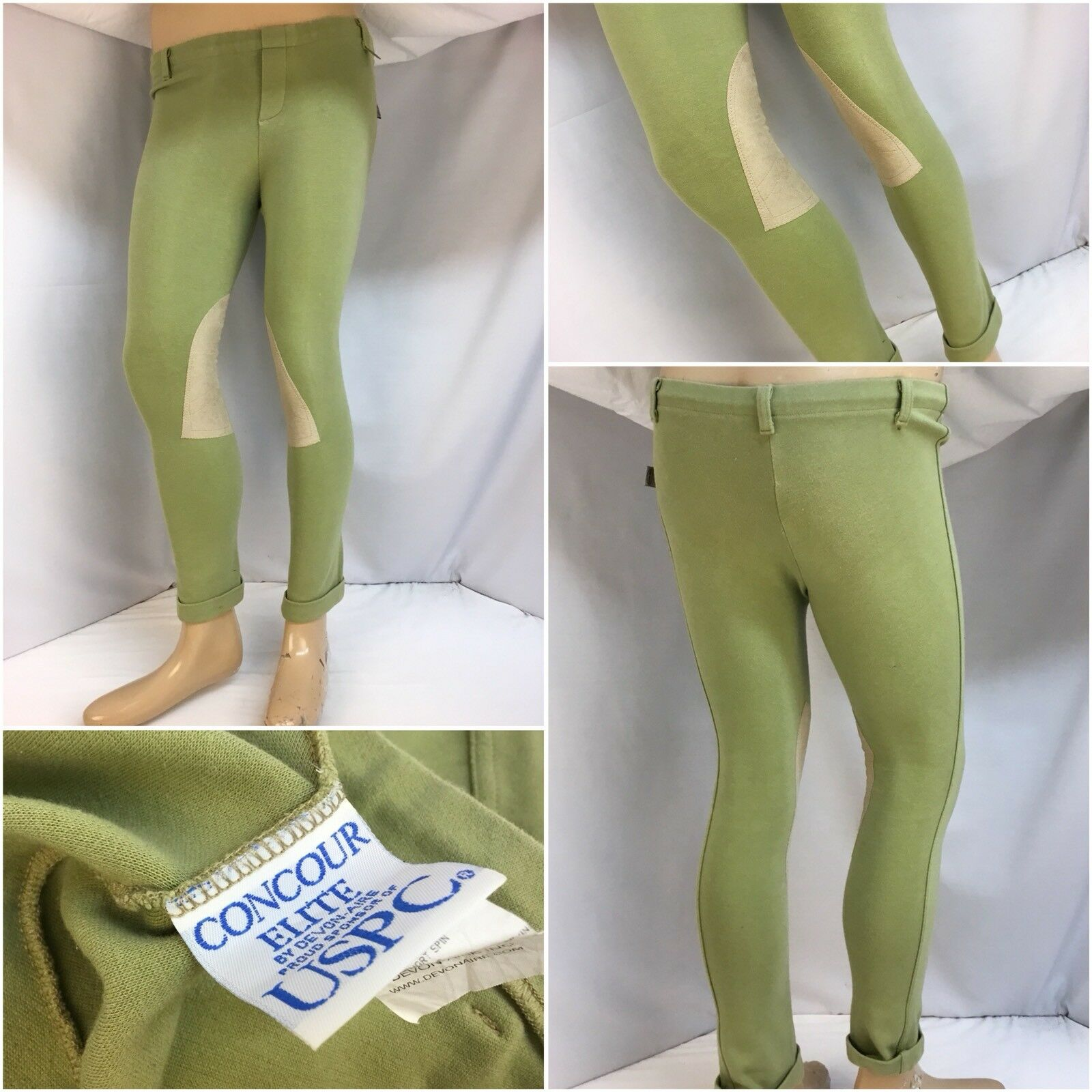 Concour Elite Devon Aire Jodhpurs XL Green Cotton Lycra Riding EUC YGI 9027