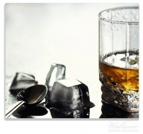 60x52cm Wallario Herdabdeckplatte 1-teilig aus Glas Whiskey on the Rocks Rum