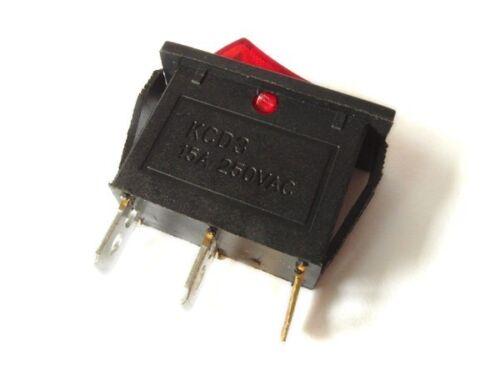 Mini-Kippschalter EIN//AUS Schalter 250V 14A AC Schaltwipppe rot beleuchtet
