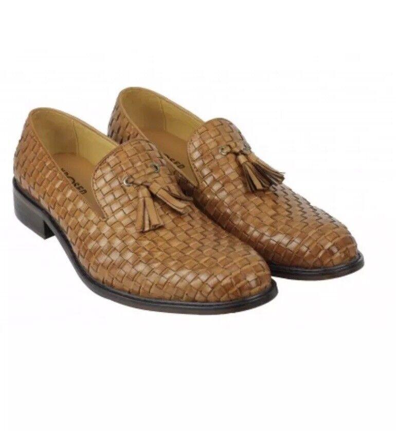 FASHION XPOSED Mens Vintage Handmade braun Leather Tassel Loafers Größe EU 45      Feinen Qualität