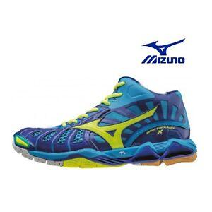 Dettagli su MIZUNO WAVE TORNADO X MID scarpe pallavolo uomo volley blu V1GA161724