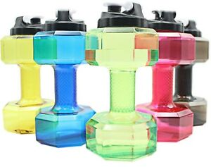 2-2L-Water-Bottle-Sports-Dumbbell-Dumbell-Shaped-Gym-Jug-Workout-Fitness-Protein