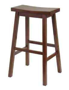 New 29 Quot Wood Kitchen Counter Stool Seat Saddle Walnut Home