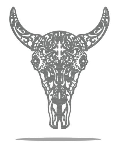 Bull Sugar Skull Metal Art Wall Decor Gift Idea