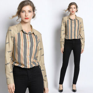 2019-Spring-Summer-Fall-Striped-Print-Women-Casual-Long-Sleeve-Shirt-Top-Blouse
