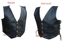 New Kids Boys/Girls Real Leather Black Braided,Side Laced Up Biker Waistcoat