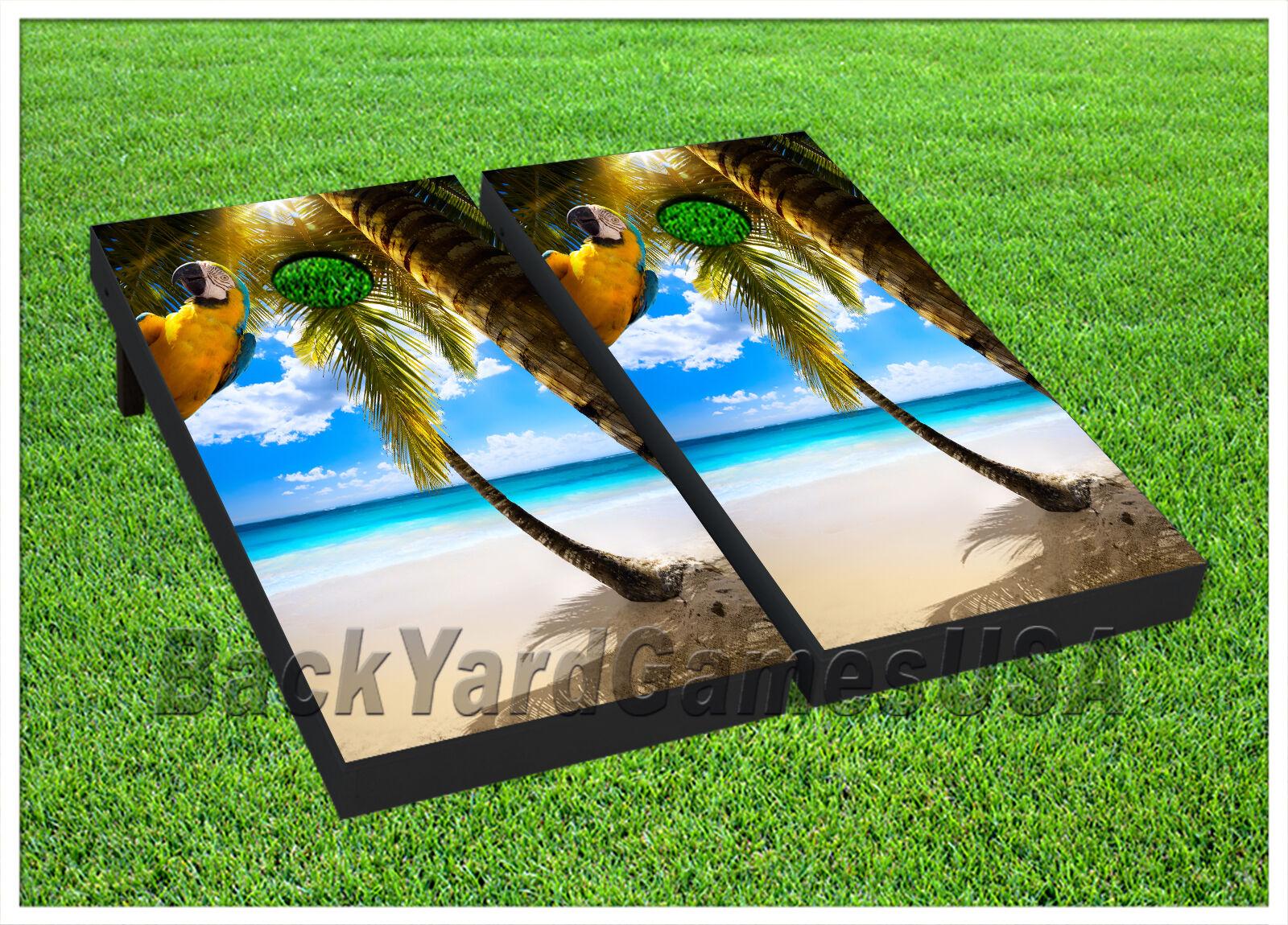 VINYL WRAPS CORNHOLE BEANBAG TOSS GAME Beach Paradise Game Board DECALS Set 884