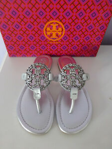 77aa933c235 NIB Tory Burch Miller Embellished Crystal Stud Leather Sandal Silver ...