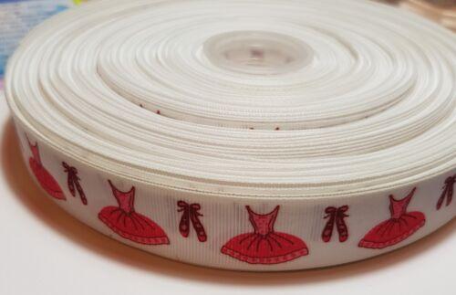 1 mtr of multi choice ballet printed Grosgrain Ribbon Cards Scrapbooking 24mm