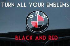 TURN YOUR BMW EMBLEM BLACK & RED - BMW Colored Emblem Roundel Overlay
