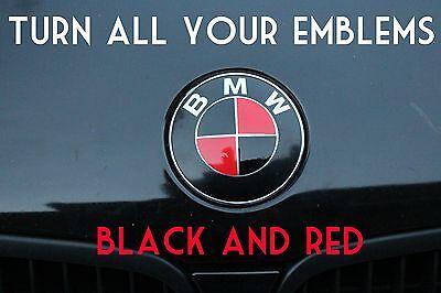 Turn Your Bmw Emblem Black Red Bmw Colored Emblem Roundel Overlay Ebay