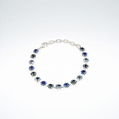 Damen Armband Tennis 925 Silber Versilbert mit Swarovski Kristallen Blau